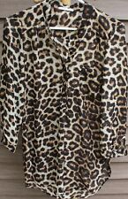 Woman's Brown Print Sheer Blouse by Wishful Park; Size: M