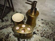 CROSCILL BIJOU (3PC SET) LOTION DISPENSER TUMBLER TOOTHBRUSH AMBER GOLD BRONZE