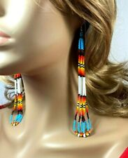 NATIVE STYLE ETHNIC BEADED HANDMADE MULTI-COLOR HOOK EARRINGS E61/25