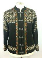 Ladies Vintage Evebofoss Norwegian Brown 100% Wool Crew Neck Cardigan Size 14