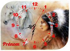 horloge pendule murale indien cheval personnalisé prénom au choix réf 59