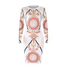 Robe longue moulante imprimé manches longues, sexy dress stretch printed femme