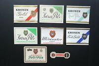 8 x verschiedene Otto Kirner Söhne Kronenbrauerei Möhringen Bier Etiketten RAR