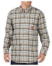 Dickies Men's Flame-Resistant Long Sleeve Shirt White/Khaki/Navy Plaid Small