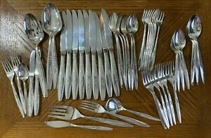 Oneida Community SilverPlate  ENCHANTMENT GENTLE ROSE Forks Knives Spoons 53 Pcs