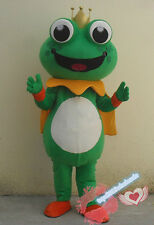 Cute Frog Prince Mascot Costume Halloween Party Fancy Dress Adult Cosplay Outfit