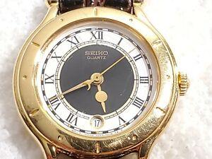 Vintage Seiko Quartz Date Watch Gold Tone Roman Numerals Brown Leather Women's