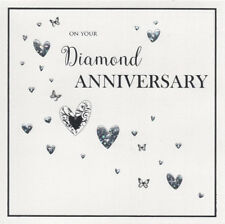 DIAMOND ANNIVERSARY CARD 60 YEARS MARRIED ~ QUALITY CARD LOVELY SQUARE DESIGN
