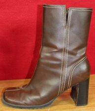 """Predictions Size 8 Brown Leather Boots 3.5"""" Block Heel Mid Calf Boots Womens"""