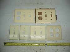 lot 6 Old Vintage Fancy Ribbed Ivory Switch Plate & Outlet Cover NOS Bakelite