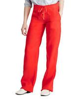 Lauren Ralph Lauren Wide-leg Linen Pants In Red Size 18