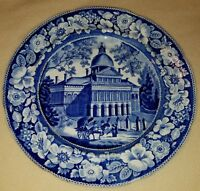 19th C. Blue & White Historical Staffordshire Boston State House Plate EW&S 10""