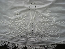 """Vintage Hand Crochet Edges & Embroidery TableCloth 37""""RD White, Chabby,Victorian"""