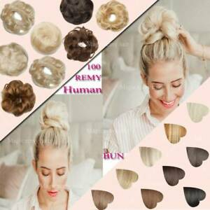 REAL Messy Bun Scrunchie Hair Extensions Ponytail Clip in 100 Human Hair Piece