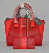 GUESS Tambako Satchel Bag Purse Handbag Wallet Set Logo Multi Black Camel Red