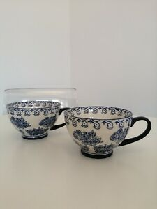 M&S Two Large Blue & White Floral Cups