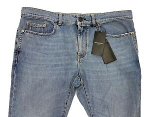 $750 Saint Laurent Blue Jeans Skinny Low Waist Size 33 Made in Italy