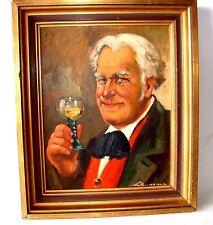 Portrait  Ölgemälde der Genießer unleserlich signiert  öl auf platte