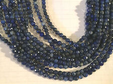"15.25"" STRAND PRETTY 4MM ROUND FACETED LAPIS LAZULI BEADS"