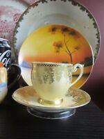 BELL BONE CHINA ENGLAND DEMITASSE FOOTED CUP & SAUCER w Gold Grapes Chintz Band!