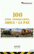 CHILE, 100 YEARS ARICA - LA PAZ RAILROAD BROCHURE, YEAR 2013