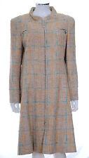 CHANEL Tan Pink Blue Tweed Boucle CC Button Long Coat Jacket FR 46 US 12 L