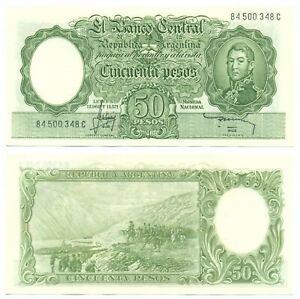 ARGENTINA NOTE 50 PESOS (1967) MASTROPIERRO-MICELE B# 2021 SUFFIX C P 271b UNC