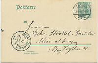 "DT.REICH ""ARTERN"" K2 a. 5 Pf Germania Kab.-GA-Postkarte nach ""MÜNCHBERG"", Bayern"