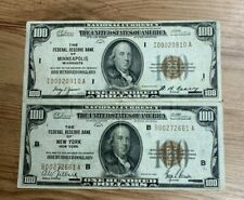 2 1929 $100 NATIONAL CURRENCY NICE BILLS VF-XF