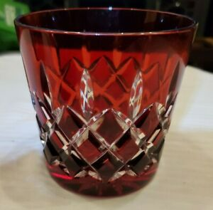 AJKA CRYSTAL 24% pBO RUBY RED GENUINE CASED CUT WHISKEY ROCKS GLASS HUNGARIAN