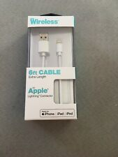 Just Wireless 6FT Lightning Charging Cable Apple Lightning Connector WHITE