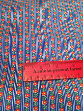 Fabric Yardage - Calico Tiny Floral Print - blue background red flowers 160 x 44