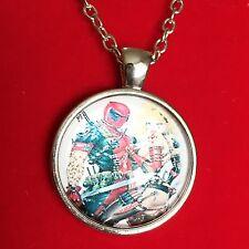 925 Silver Plt Cabochon Harley Quinn Deadpool Pendant Necklace Ladies Girls Gift