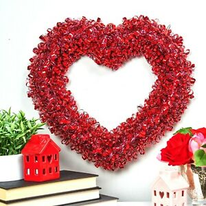Valentine's Day Tinsel Heart Shaped Wreath Party Wall Decor Celebrate Red Silver