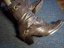 ATMOSPHERE/BROWN/LACE-UP/BUCKLE FIX/HEEL/ANKLE BOOTS/SIZE 4