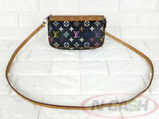 BIDSALEONLY!AUTHENTIC $700 LOUIS VUITTON Black Multicolore Monogram Pochette Bag