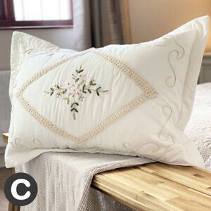 Large Rectangle Cushion Cover Pillowcase Cotton Cream Crochet Embroidered Floral