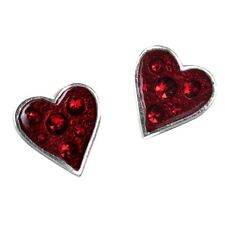 Official Alchemy Gothic Hearts Blood Pewter Stud Earrings - Swarovski Red New
