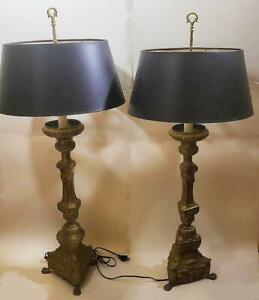 Large Antique Pair of Bronze.Brass Lamps Converted Church Candlesticks c.1890s