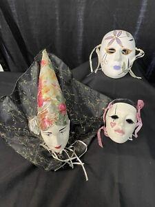 Mardi Gras Style Lot of 3 Ceramic Masks