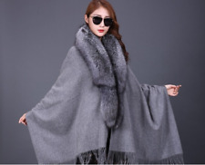 100% Woo Pashmina A complete Fox Fur Women /Dinner party /gray