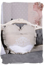 CUSHION shabby chic heart pillow country style linen couch vintage