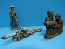 RARE VINTAGE LOT OF 4 1940'S MOLDED COMPOSITION SAWDUST TOY SOLDIERS - GOOD