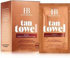 HauteBronze Half Body Self Tan Towelettes, Tan Towel, 10 count Dark