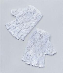 Women's White Lace Short Fingerless Gloves Madonna Lady 1980's Fancy Dress