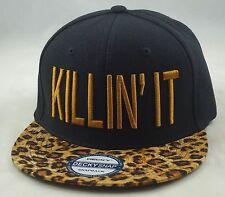 "NEW ""KILLIN IT"" LEOPARD 3D FLAT BILL SNAPBACK CAP HIPHOP HAT BLACK/LEOPARD"