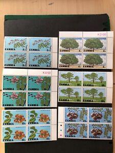 MNH Zambia 1976 Forestry Trees marginal blocks 4 set vf Sc# 156-161