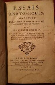 1742 LIEUTAUD ESSAIS ANATOMIQUES chez huart. 5 PLANCHES.
