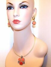 NEW $46 w/Tags DANA BUCHMAN Necklace Earring SET Gold w/PEACH & RHINESTONE Sets