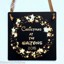 Disney Style Font Christmas Family Decoration Plaque Personalised Stars Gift